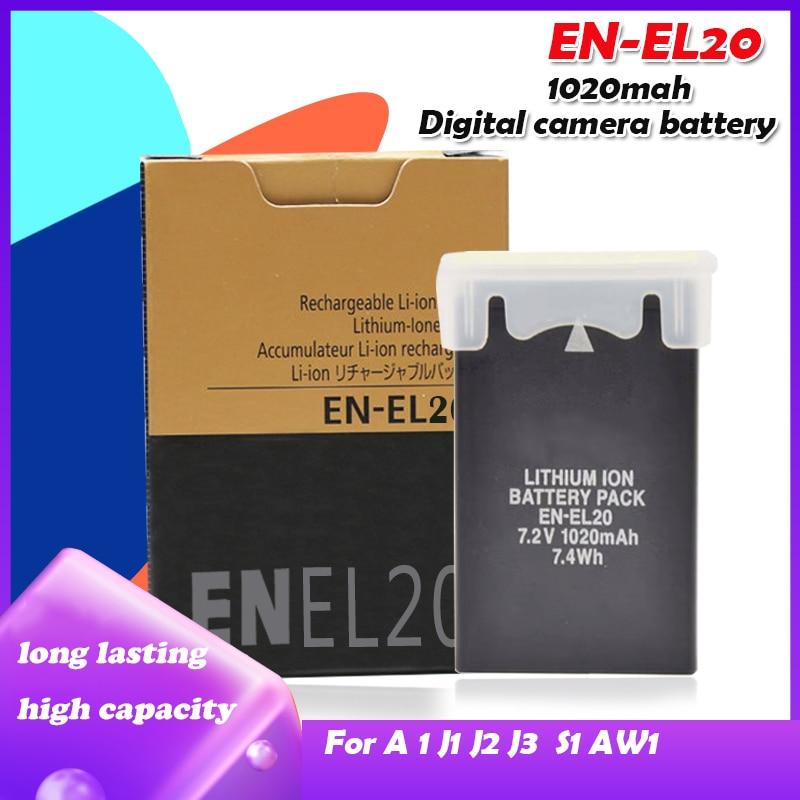 EN-EL20 EN EL20 7.2V 1020mah batterie au Lithium Rechargeable pour Nikon Coolpix A 1 J1 J2 J3 S1 Batteries pour appareil photo avec chargeur de MH-27