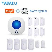 YAJADO Android&iOS Tuya WiFi Home Security Alarm System with Wireless Detectors & Indoor Siren Alarm Speaker APP Remote Control