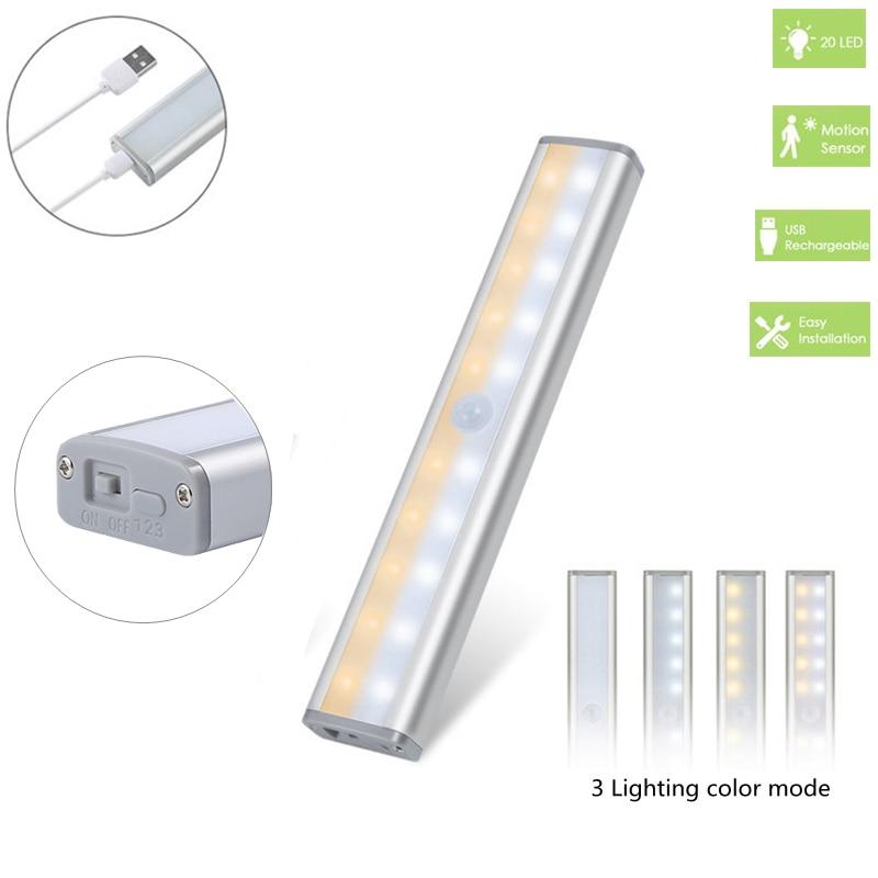 3 Color Modes 20 LED Wireless PIR Motion Sensor Night Light Under Cabinet Light USB Rechargeable Magnetic Stick On Night Light