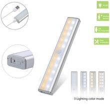 3 Kleur Modi 20 Led Draadloze Pir Motion Sensor Nacht Licht Onder Kabinet Light Usb Oplaadbare Magnetische Stok Op Night licht