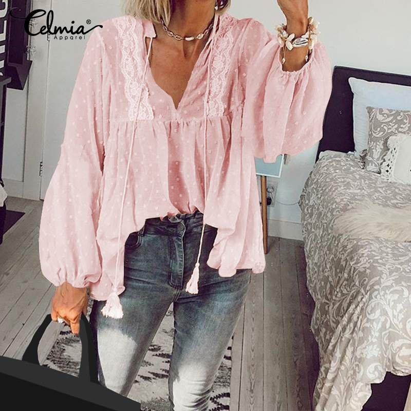 Celmia 2020 Fashion Long Sleeve Lace Blouse Women Sexy See-through V-neck Shirts Female Casual Loose Blusas Lace Up Tunic Tops 7