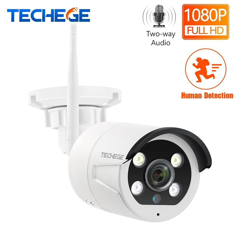 Techege hd 1080 p câmera ip wi fi em dois sentidos de áudio ao ar livre à prova d2.água 2.0mp câmera wifi nignt visão câmera detecção humana sem fio