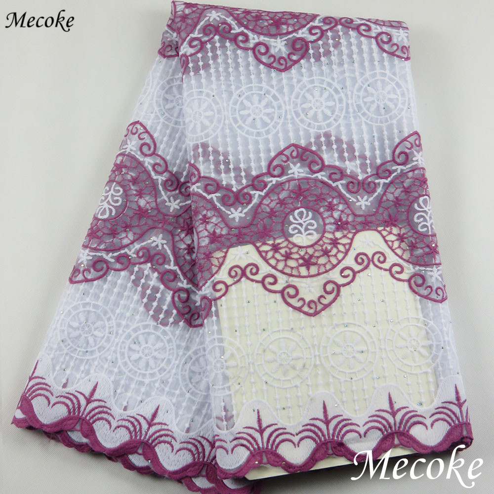 2019 Best Selling Swiss voile laces African Fabric red Nigerian French Fabric purple High Quality Nigeria Tulle cord Lace Fabric