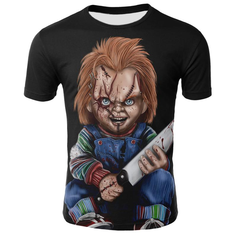 2021 spring and summer horror movie T-shirt 3D printing clown cool men and women round neck short sleeve casual fashion streetwe