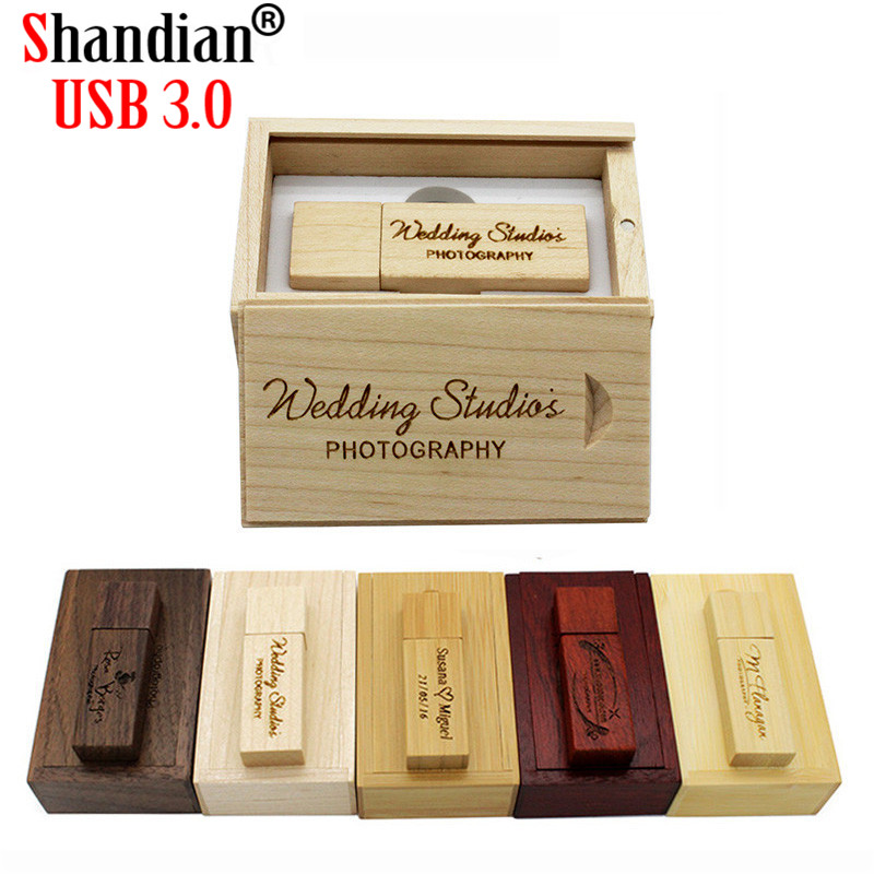 Wooden USB 3.0 Flash Drive Engraved Custom Photography Studio Wedding Pendrive