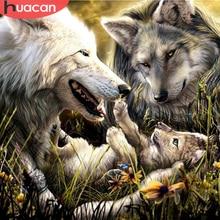 HUACAN Wolf diamante pittura Full Square/Round ricamo animale punto croce decorazione domestica mosaico fatto a mano