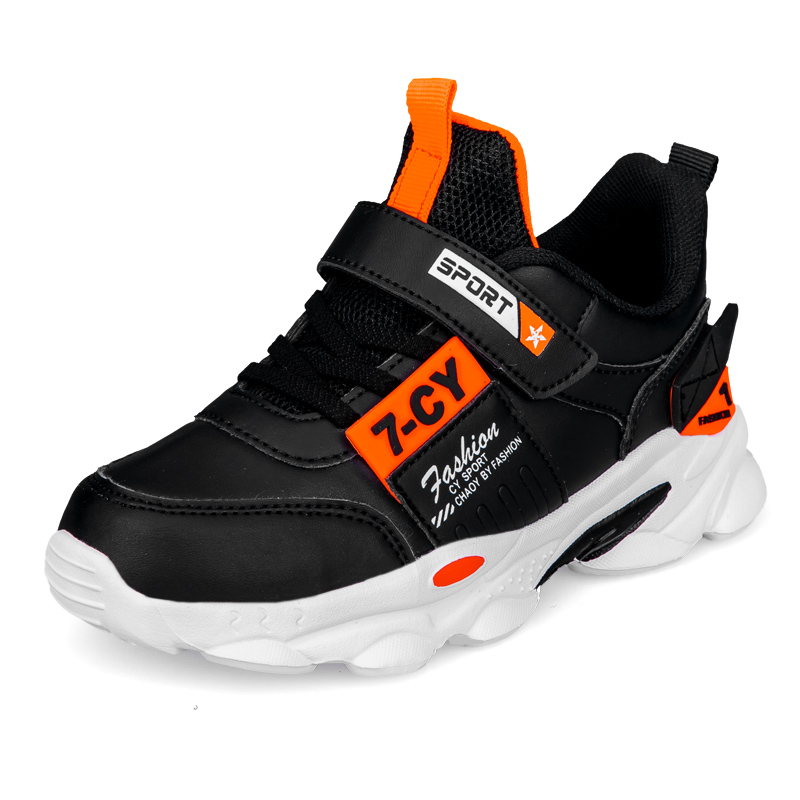 SKHEK Autumn Children Sports Shoes Boys Breathable Running Sneakers Kids Outside Travelling Leather Shoes Size 28 To Size 38