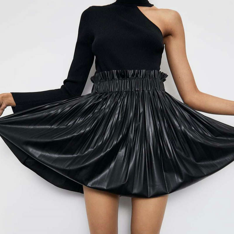 2019 New Fashion Women Autumn Winter PU Faux Leather Skirts Lady High Waist Pleated Mini Sex Club Black Elastic Free Skirt
