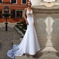 Sevintage Mermaid Matt Satin Wedding Dresses Appliques Lace Backless Bridal Dress Court Train Princess Bride Party Gowns