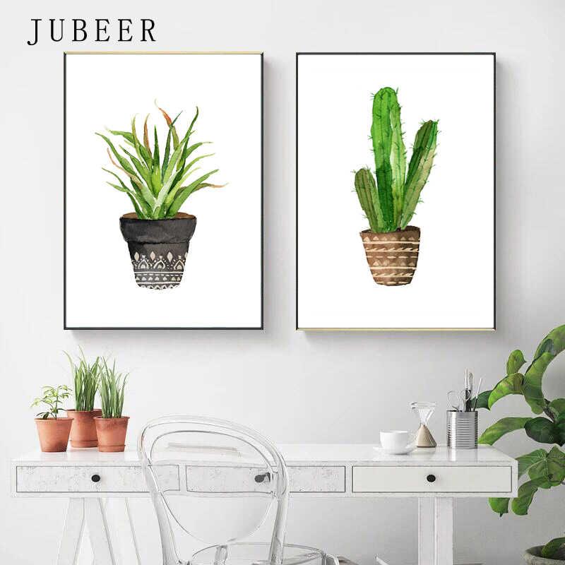 Скандинавский стиль кактус плакаты и принты Горшечное растение гостиная украшения картины зеленые листья холст живопись для стены