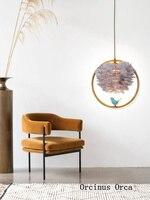 Nordic cartoon bird chandelier corridor girls bedside lamp modern creative white feather single headed Chandelier