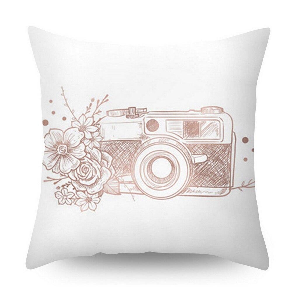 Розовое золото квадратная подушка крышка с геометрическим рисунком сказочной подушка чехол полиэстер декоративная наволочка для подушки для домашнего декора размером 45*45 см - Цвет: Шоколад