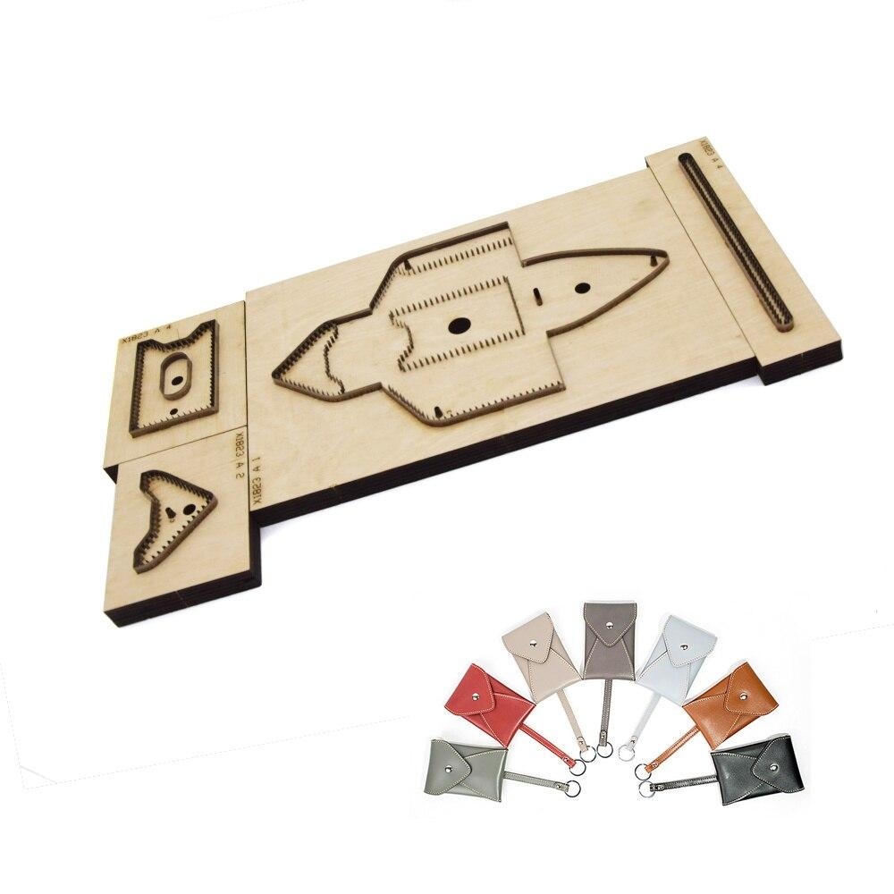 4 pièces japon acier lame artisanat cuir bricolage clé Case porte-carte sac de découpe couteau moule main machine poinçon outil ensemble 115x78mm