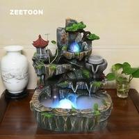 110V / 220V Resin Rockery Water Fountain Vintage Fish Tank Plant Pot Bonsai Desktop Decor Crafts Feng Shui Fountain Opening Gift