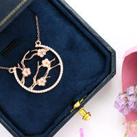 925 Silver Necklace Chain Women Clothing Accessories Female Thick Plating Tree Jewelry Pendant Choker Simple Gift For Girlfriend