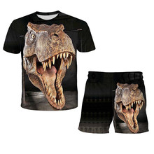 3D Printed Hot Jurassic Park Funny Fasion Top+Shorts 2pcs Kids Sets Jurassic World Tee Children Boys Girls Cool Summer Clothes