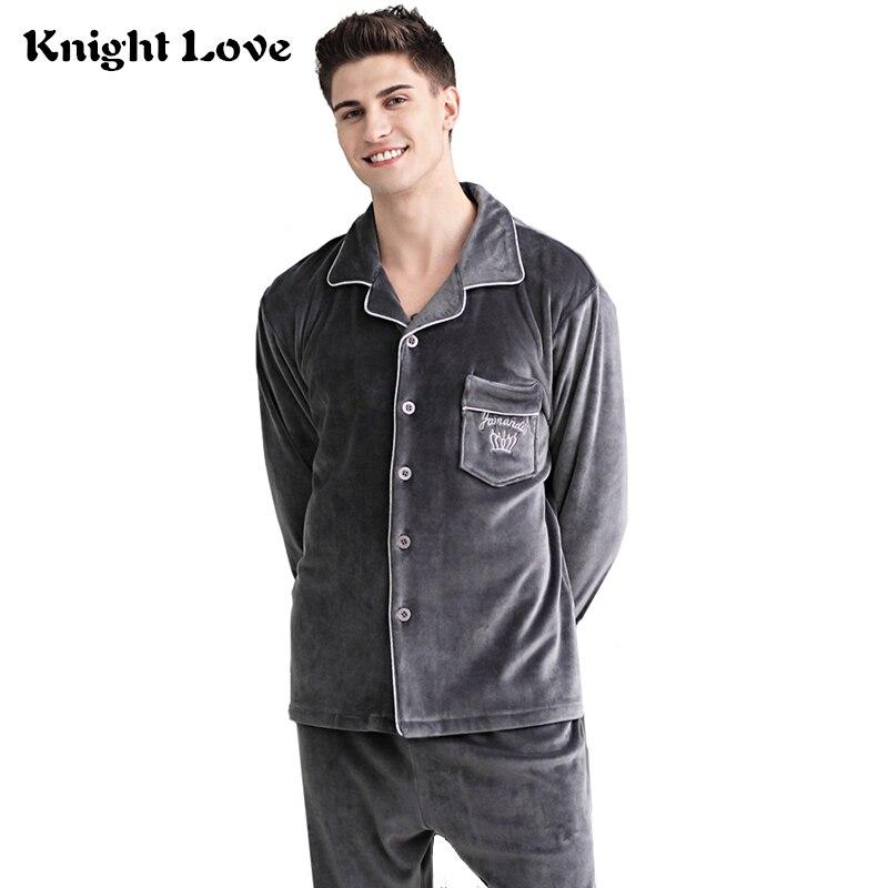 Men Pajamas Set Winter Luxury Thicken Flannel Soft Sleepwear 2 Pcs/Set Tops + Warm Pants Pyjama Set Plus Size Thermal Homewear