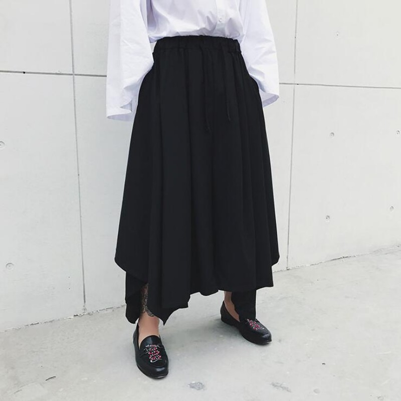 Spring Harajuku Mens Baggy Ankle Length Flare Wide Leg Irregular Pantskirt Loose Fit Elastic Waist Harem Pants Plus Size 17