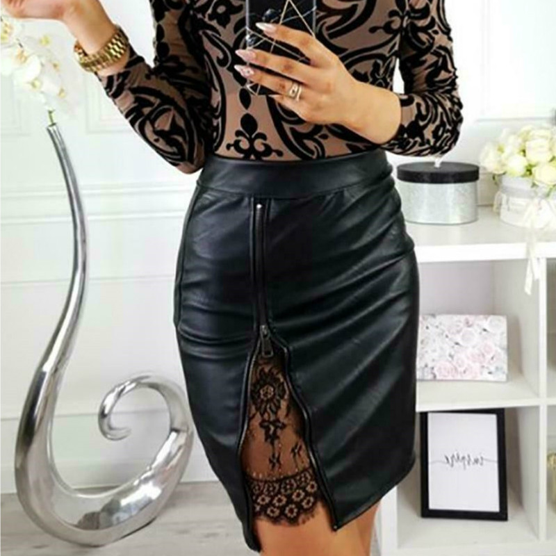 Women High Waist PU Leather Mini Skirts Elegant OL Female Lace Floral Splicing Short Fancy Sexy Slim Pencil Skirt Skirt Clothing