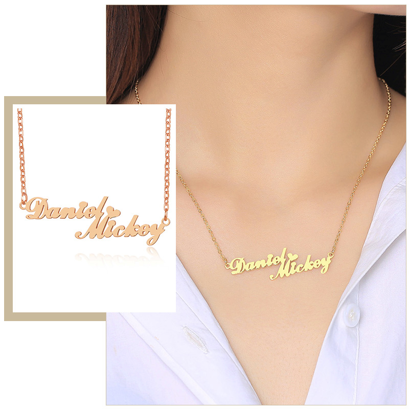 2 Names Connected Custom Women Necklace Stainless Steel Choker Couple Mother Daughter Sisters Personalized Gift (Model: Font12)