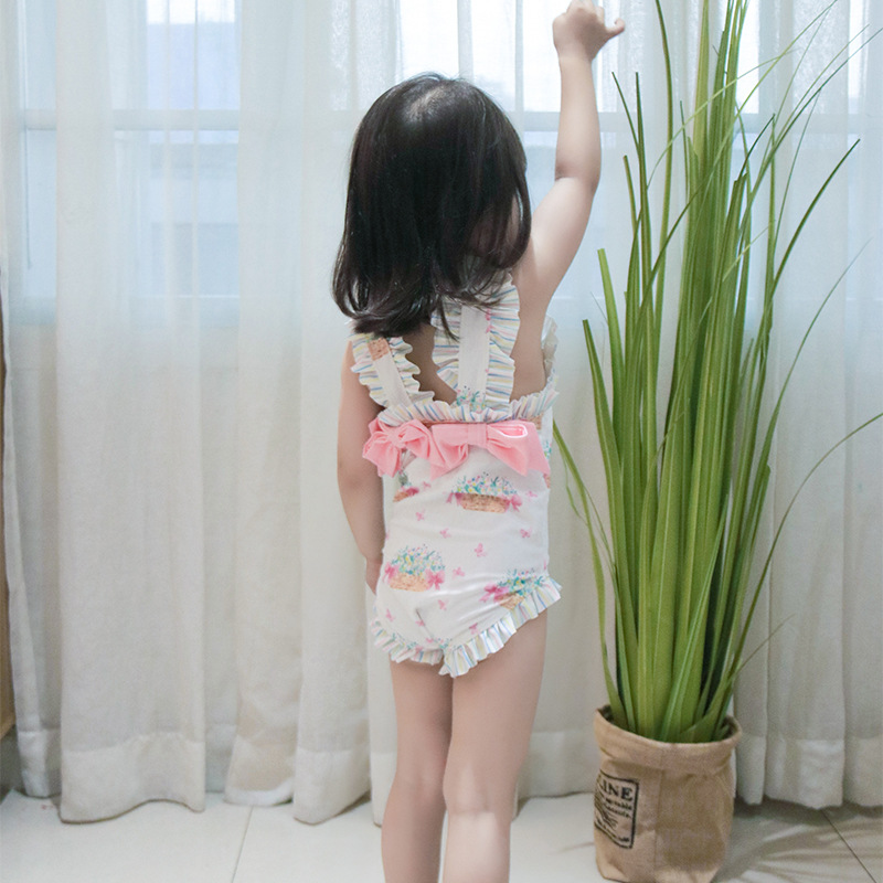 INS Bathing Suit 2019 Summer GIRL'S One-piece Swimming Suit Europe And America Basket For Flower Arranging Baby Beach Holiday Ou