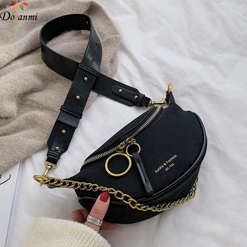 DORANMI Luxury Brand Designed Fanny Pack Women's Waist Pack 2019 Suede Leather Waist Bags Female Letter Printed Belt Bag BG224