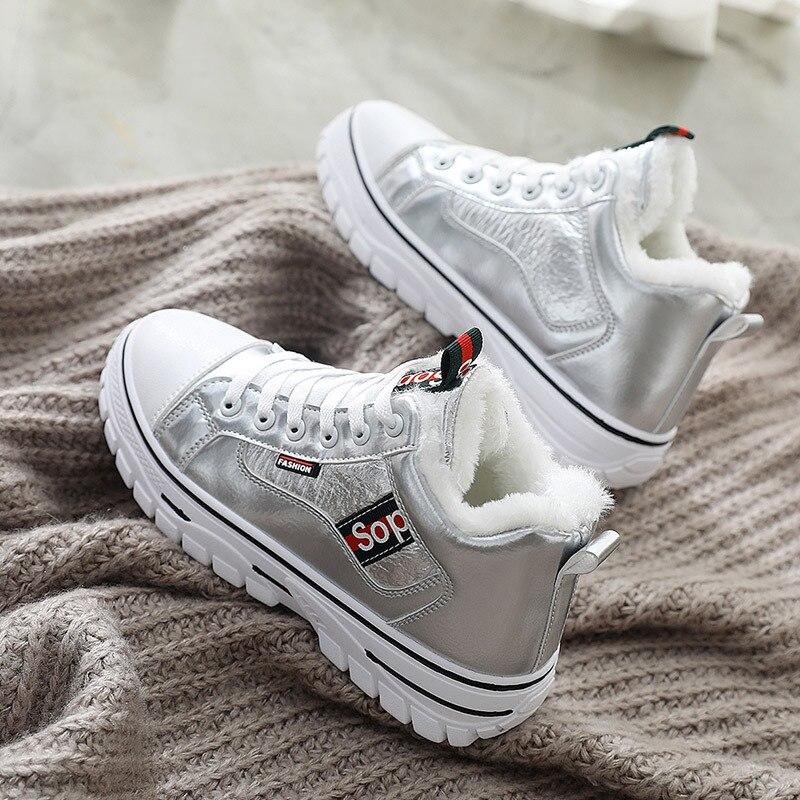 High Top White Shoes Women 2019 Autumn Winter New Wild Fashion Plus Velvet Warm Platform Sneakers Cotton Shoes Women Shoes 3309