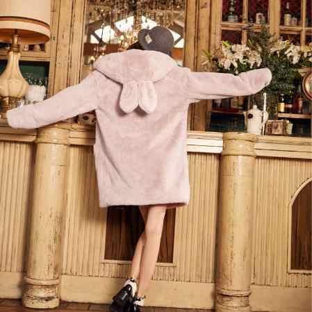 فروي النساء فو الفراء معاطف 2019 الشتاء رشاقته فو الفراء الفضة الوردي معطف مع مقنعين فروي النساء فتاة ضئيلة طويلة معطف M913