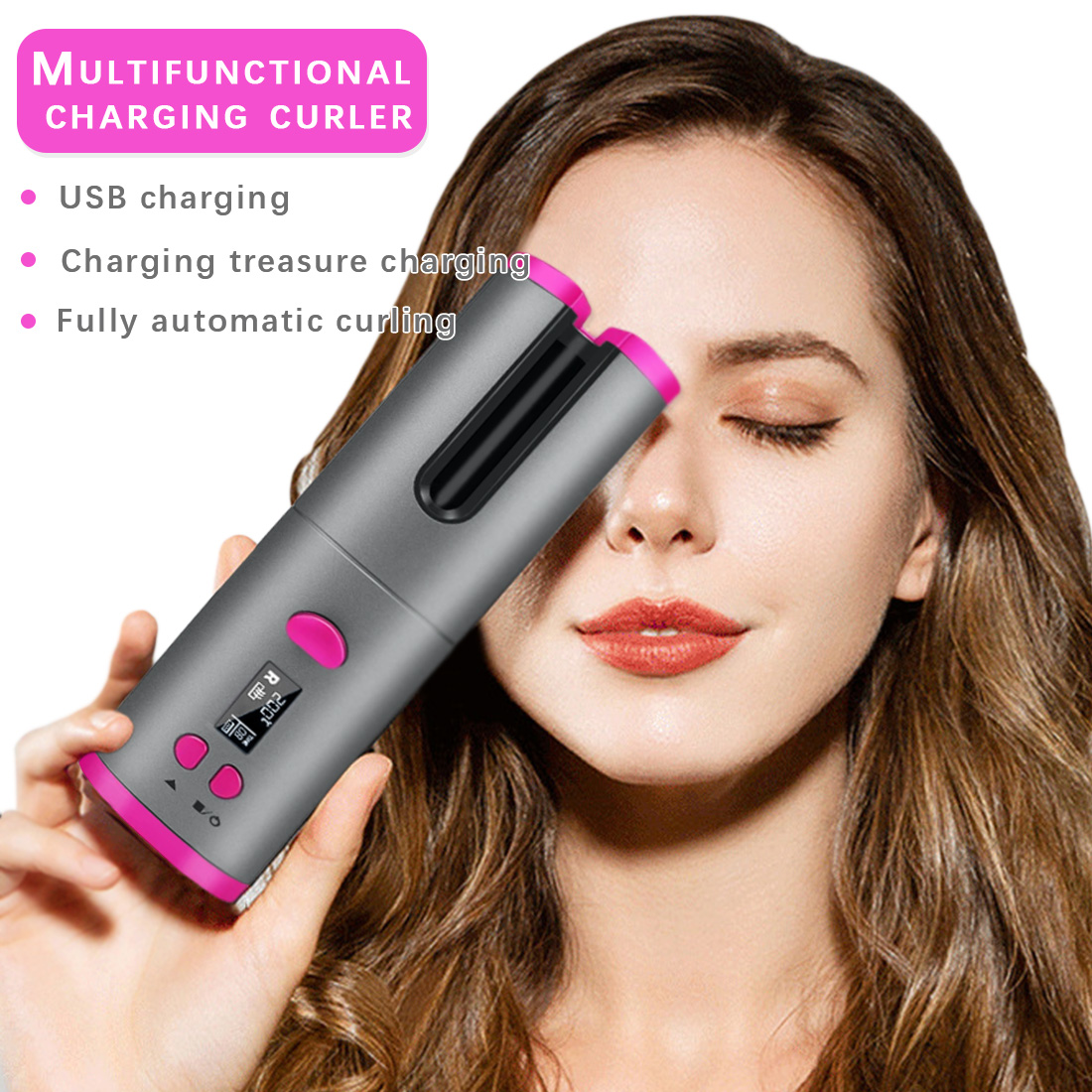 Cordless Auto Rotating Ceramic Hair Curler USB Rechargeable Curling Iron LED Display Temperature Adjustable Hair Straightener