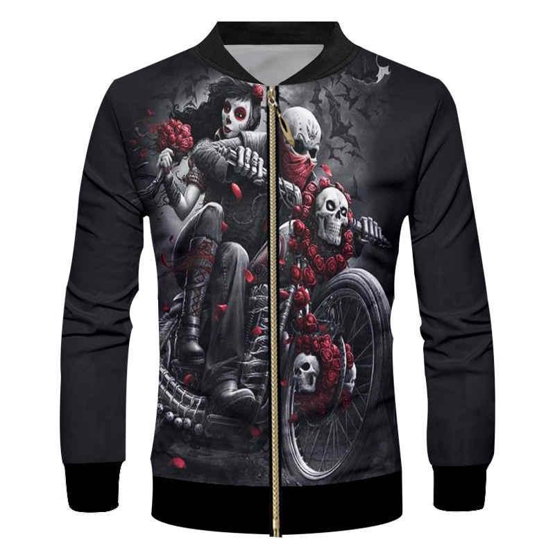 Fajne czaszki motocykl czarny kurtka zapinana na zamek 3D mężczyźni śmieszne duch panna młoda kurtka bluza moda na co dzień Unisex lokomotywa kurtka płaszcz