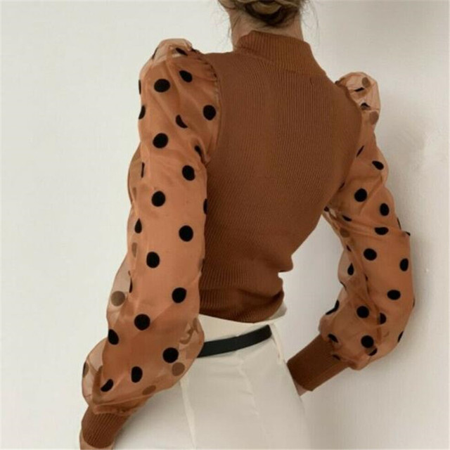 Elegant Slim Polka Dot Puff Long Sleeve Tops Shirt Turtleneck Fall Blouse 4