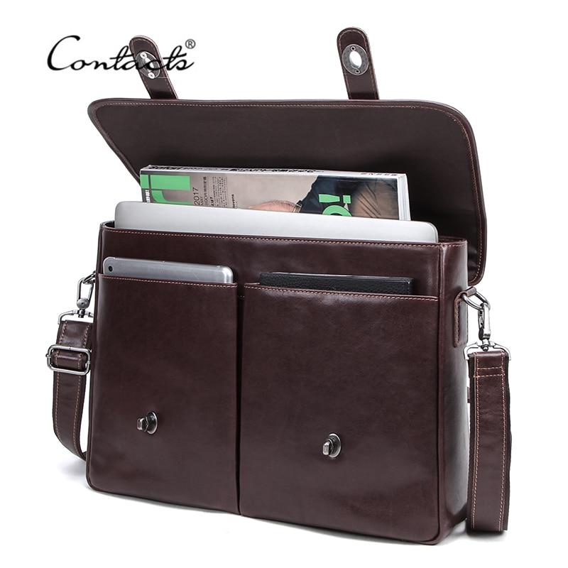 CONTACT'S Business Men Handbag 100% Genuine Leather Briefcases Man Messenger Shoulder Bags For 15.4