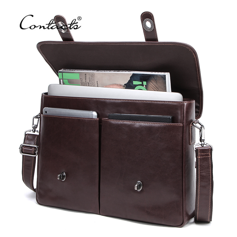 CONTACT'S Business Men Handbag 100% Genuine Leather Briefcases Man Messenger Shoulder Bags for 15.4 Laptop Quality Portafolio image