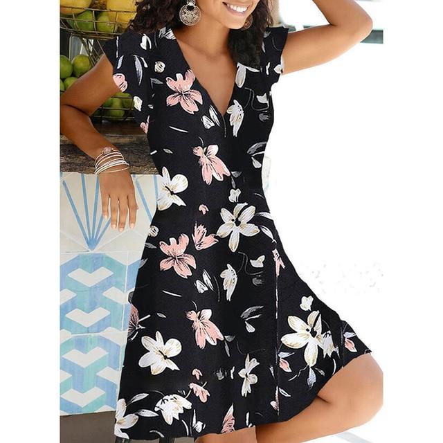 New Summer V Neck Floral Print Party Dress Women Vintage Sleeveless Tank Mini Dress Spring Loose Plus Size A-Line Dress 2021 4
