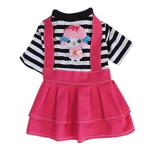Spring Summer Cartoon Dog Pet Cat Skirt Bow Clothes XS-XL Size Z Puppies Striped Dress