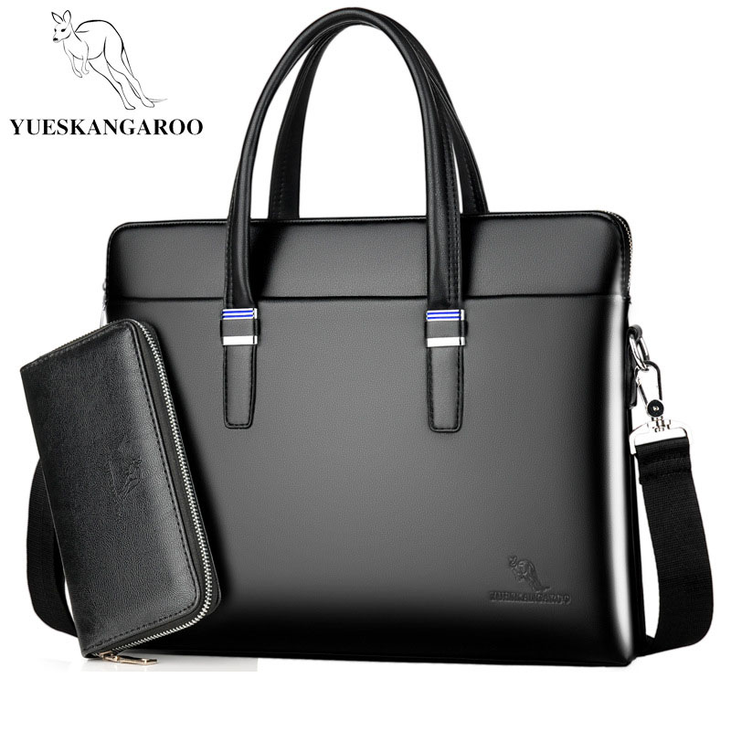 YUESKANGARO Fashion Shoulder Bag Men Briefcase A4 PU Leather Men Bags Business Laptop Tote Luxury Brand Male Briefcases Handbags