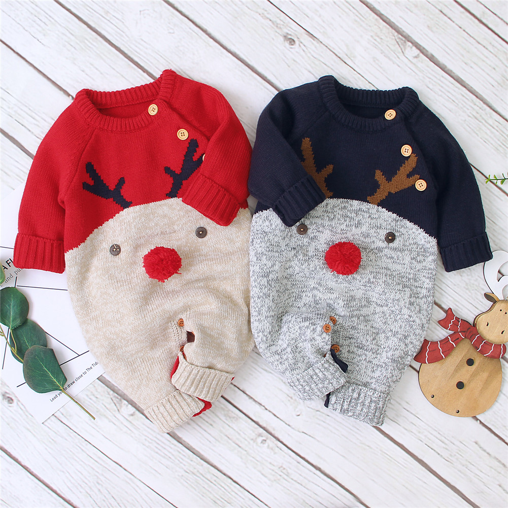 0-18M Christmas Baby Clothes Newborn Infant Boy Girl Deer Romper Knitted Warm Jumpsuit Xmas Baby Costumes Clothes