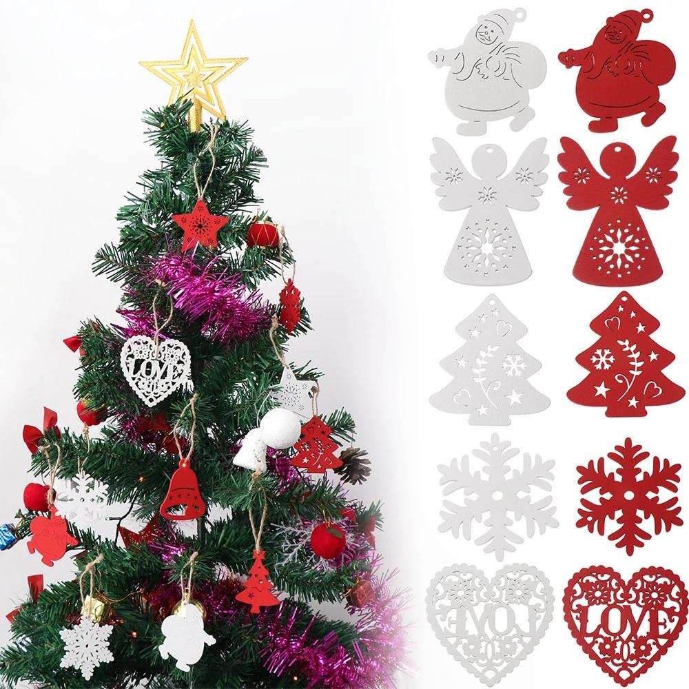 3D Christmas Tree Pendants Hanging Wooden Christmas ...