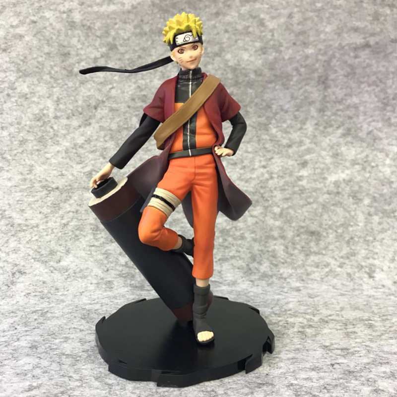 20cm Uzumaki Naruto Immortal model Stand with a scroll japenese anime figure Ornamental object PVC toys