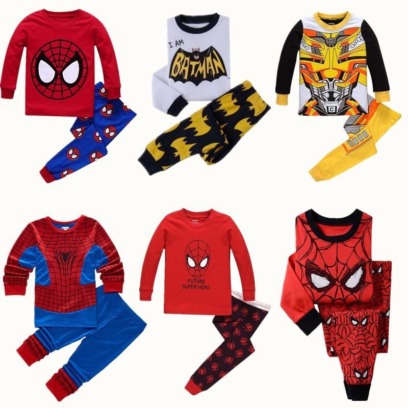 Baby Boys Clothes Girl Sleepwear Avenger Kids Pajamas Children Spiderman Sets Batman Pyjamas Toddle Clothing Sets