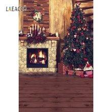 Laeacco Рождественская елка камин подарки часы свеча деревянный