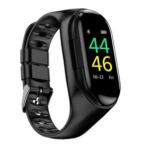 Image 4 - M1 TWSหูฟังไร้สายบลูทูธ5.0 Smart WatchสุขภาพTracker Pedometerสร้อยข้อมือฟิตเนสสมาร์ทสายรัดข้อมือสำหรับกีฬา