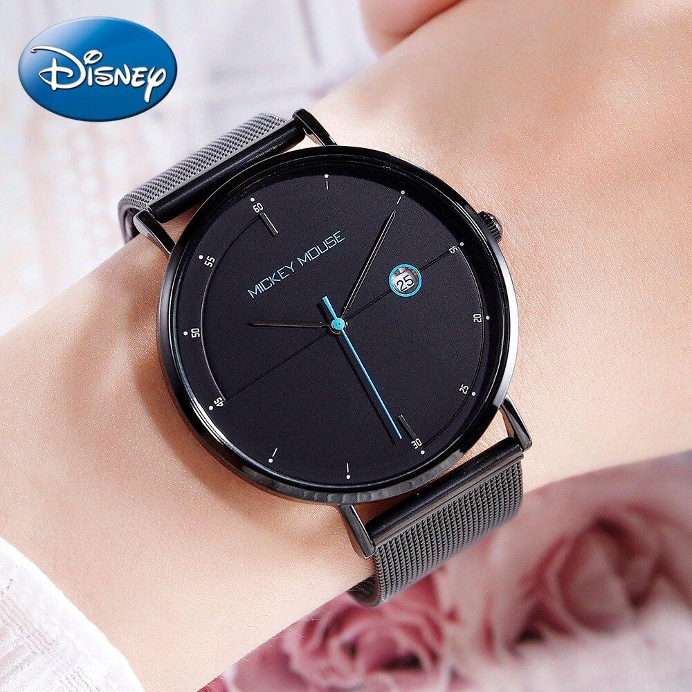 Lady Beautiful Stainless Steel Milanese Mesh Band Watch Luxury Disney Mickey Japan Quartz Waterproof Women's Round Wristwatch