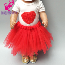 18 inch American Doll red heart dress for baby doll clothes birthday lace head crwon gift