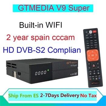 Gtmedia V9 Super Satellite receiver DVB-S2 H.265 USB2.0 4k freesat v9 super for 2year Spaincccam cline for 2 year receptor tvbox