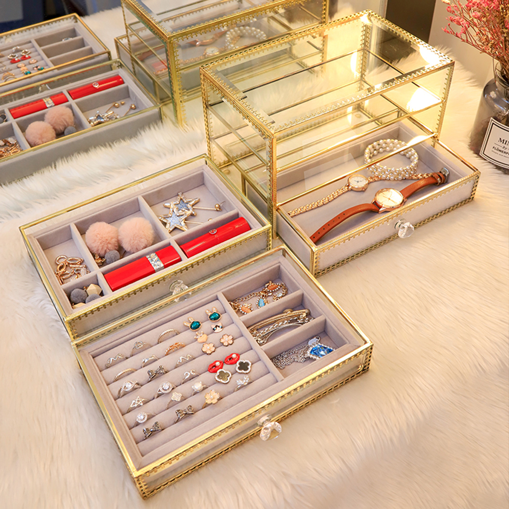 2 Layer Clear Glass Jewelry Box With Removable Velvet Drawer Tray Metal Brass Lace Edged Jewelery Display Dustproof Organizer