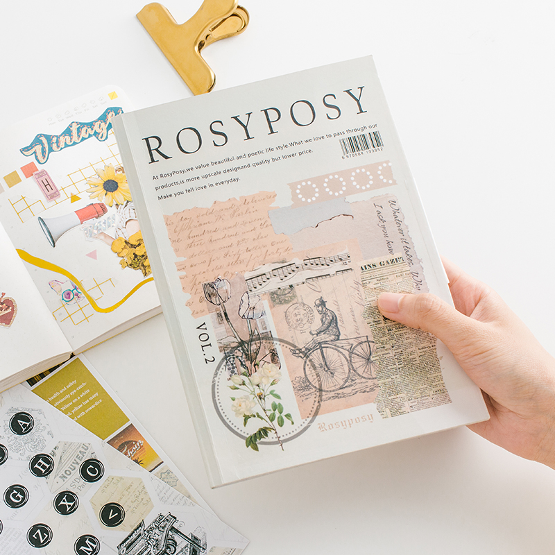 Simple Retro Style Creative Sticker Collection Stamp Typewriter Diary Stickers Bullet Journal Supplies Kawaii