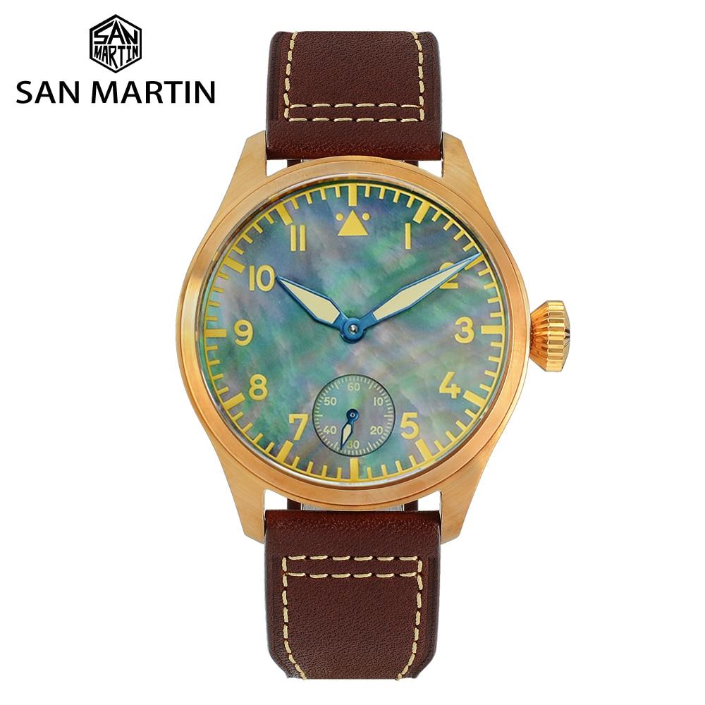 San Martin Bronze Pilot MOP Dial Men Watch See-through Case Back Seagull 6498 Mechanical Hand Wind Sapphire Leather Luminous
