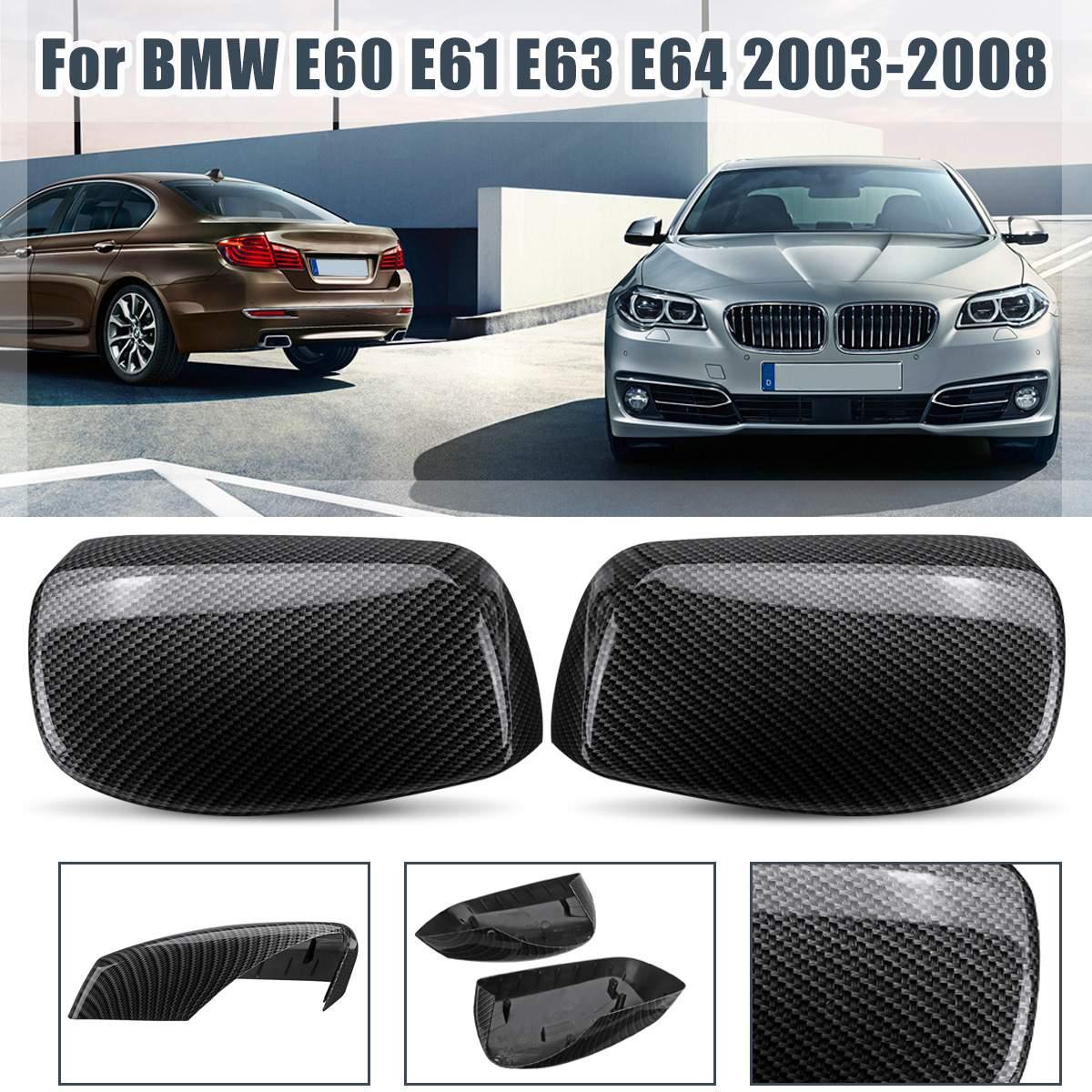 Pair Side Rear Mirror Case Carbon Fiber Mirror Cover Replacement For BMW E60 E61 E63 E64 2003 2004 2005 2006 2007 2008 ERG927795