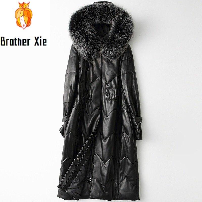Elegant Fox Fur Collar Hooded Womens Sheepskin Down Coats Winter Qualities Office Ladies Genuine Leather Medium Length Overcoat